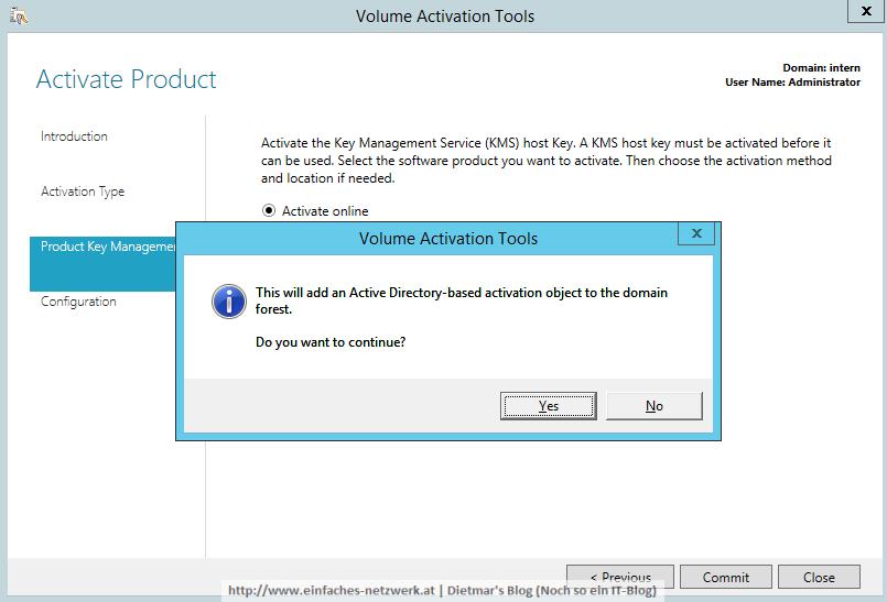 Active Directory-basierte Aktivierung installieren