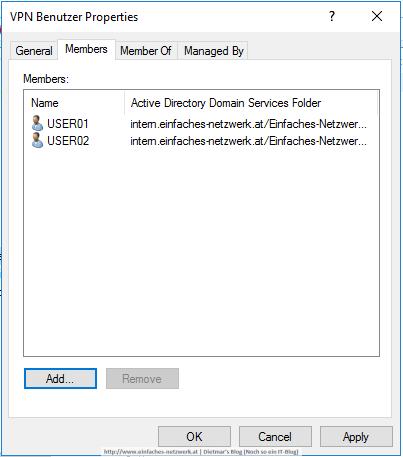 VPN Benutzer in Gruppe
